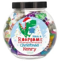Personalised Dinosaur 'Have a Roarsome Christmas' Sweet Jar - ideal gifts for Kids at Christmas - Partyworx